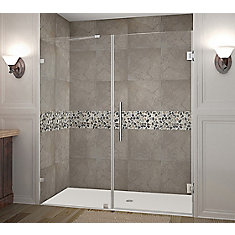 Nautis 72 Inch X 72 Inch Completely Frameless Hinged Shower Door In Chrome
