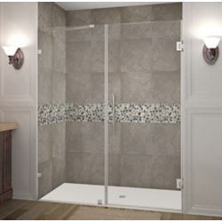 Aston Nautis 62 Inch X 72 Inch Completely Frameless Hinged Shower Door In Stainless Steel