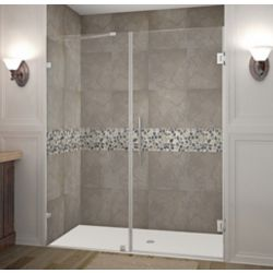 Aston Nautis 63 Inch X 72 Inch Completely Frameless Hinged Shower Door In Stainless Steel