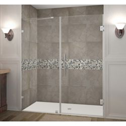 Aston Nautis 64 Inch X 72 Inch Completely Frameless Hinged Shower Door In Stainless Steel