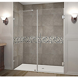 Aston Nautis 65 Inch X 72 Inch Completely Frameless Hinged Shower Door In Stainless Steel
