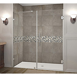 Aston Nautis 70-inch X 72-inch Completely Frameless Hinged Shower Door In Stainless Steel