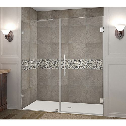 Aston Nautis 72 Inch X 72 Inch Completely Frameless Hinged Shower Door In Stainless Steel