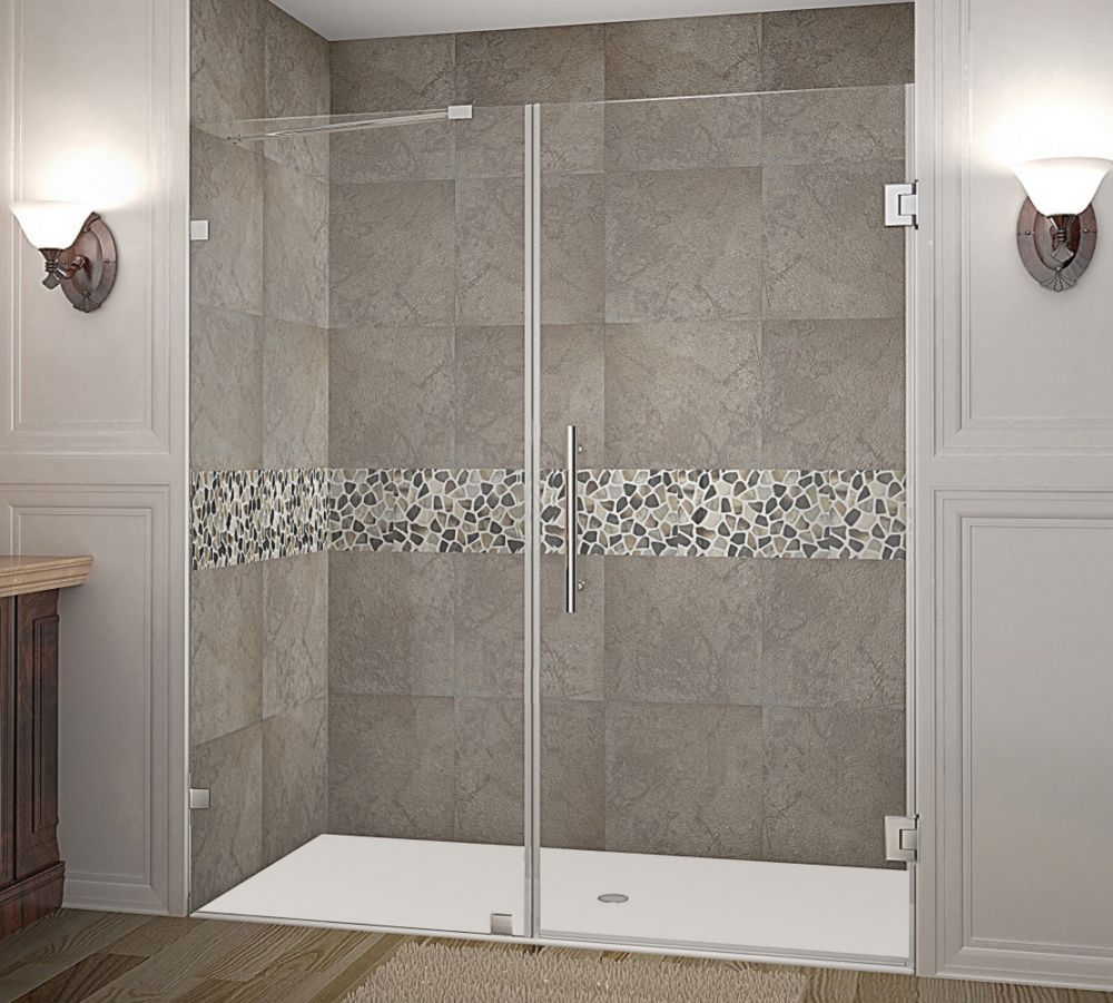 Nautis 71 Inch X 72 Inch Completely Frameless Hinged Shower Door In Stainless Steel