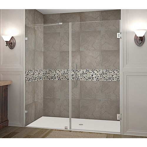 Aston Nautis 74 Inch X 72 Inch Completely Frameless Hinged Shower Door In Stainless Steel