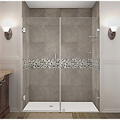Nautis GS 61-inch X 72-inch Completely Frameless Hinged Shower Door With Glass Shelves In Chrome