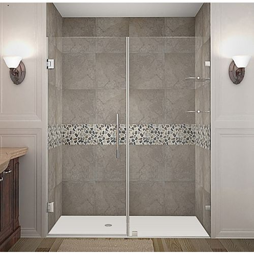 Aston Nautis GS 61-inch X 72-inch Completely Frameless Hinged Shower Door With Glass Shelves In Chrome