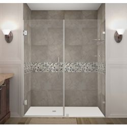 Aston Nautis GS 65 Inch X 72 Inch Completely Frameless Hinged Shower Door With Glass Shelves In Chrome