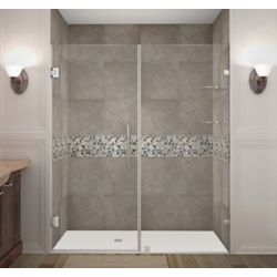 Aston Nautis GS 67 Inch X 72 Inch Completely Frameless Hinged Shower Door With Glass Shelves In Chrome