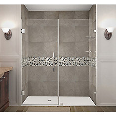 Nautis GS 68 Inch X 72 Inch Completely Frameless Hinged Shower Door With Glass Shelves In Chrome