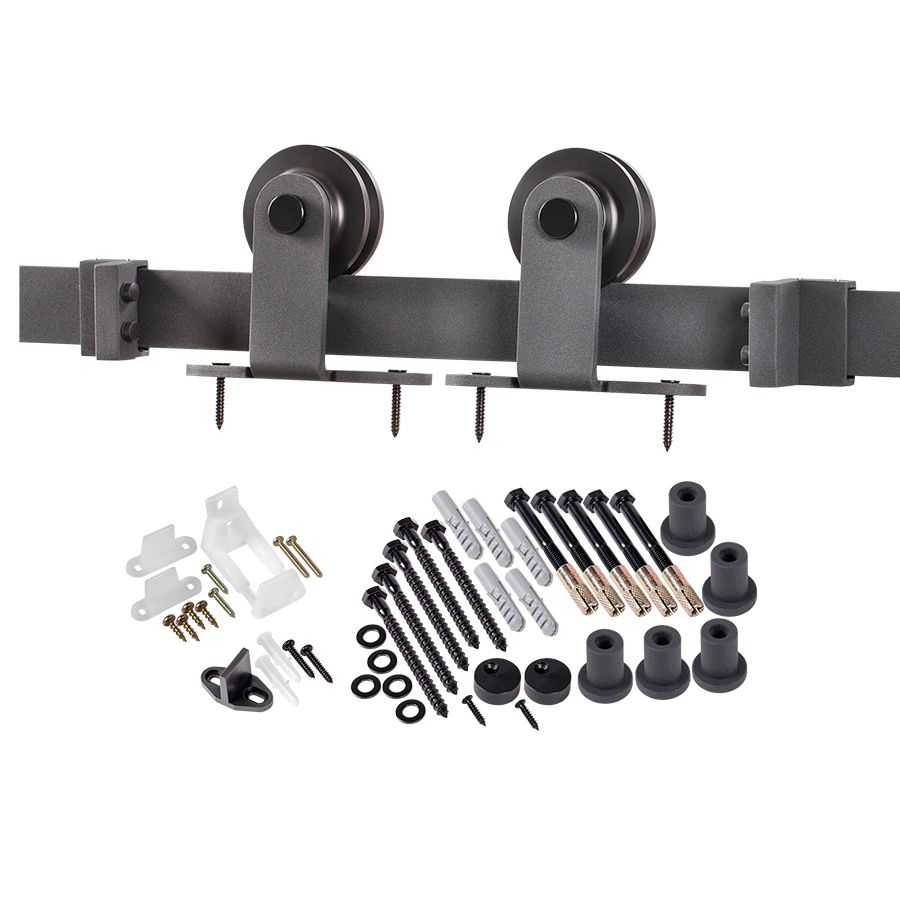 6.6 ft. Premium Black Interior Modern Country Rustic Wood Barn Door Closet Hardware Track Kit