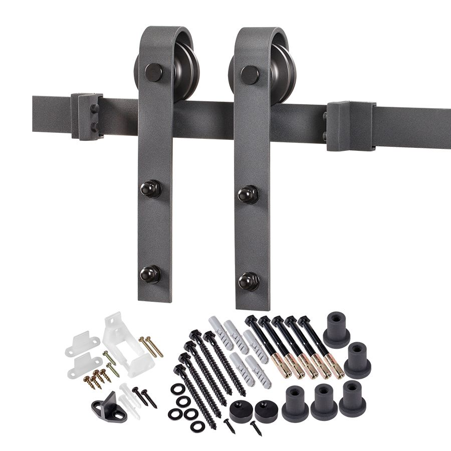ACME 6.6 ft. Premium Black Interior Modern Country Rustic Wood Barn Door Closet Hardware Track Kit