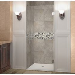Aston Cascadia 35 Inch X 72 Inch Completely Frameless Hinged Shower Door In Chrome