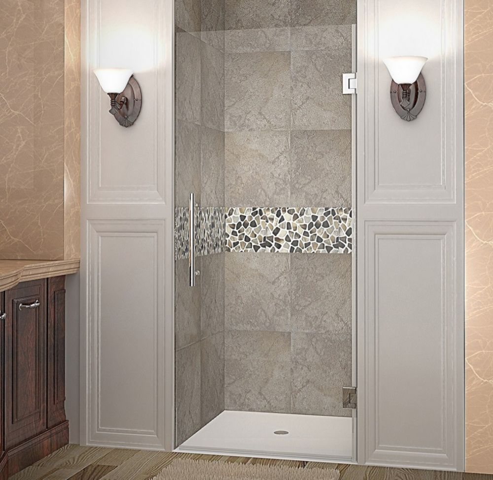 Aston Cascadia 31 Inch X 72 Inch Completely Frameless Hinged Shower Door In Stainless Steel