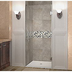Cascadia 33 Inch X 72 Inch Completely Frameless Hinged Shower Door In Stainless Steel