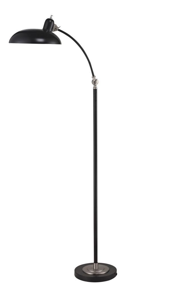 60 Inch Satin Chrome And Black Metal Head Task Floor Lamp