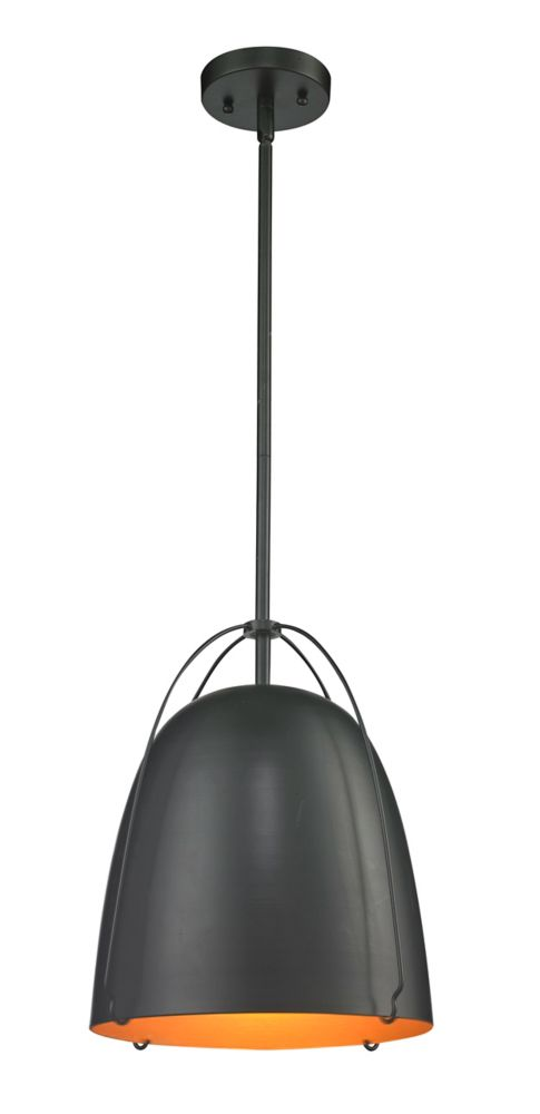 12 Inch Black Matt Industrial Pendant