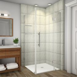 Aston Avalux GS 36-Inch  x 38-Inch  x 72-Inch  Frameless Shower Stall with Glass Shelves in Chrome