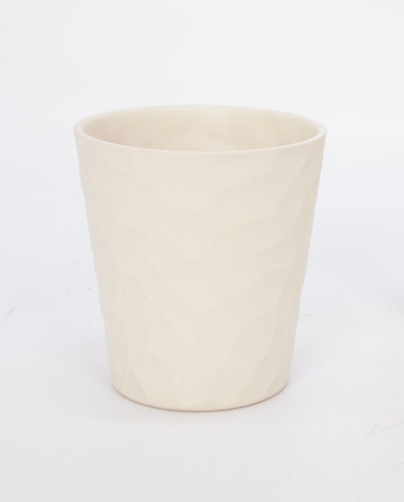 Ceramic Pot Embossed Panna Matte 5in