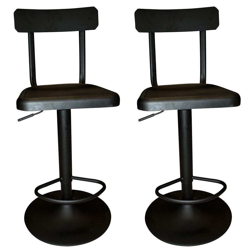 Haines Box Of 2 Adjustable Stool-Black 203-938 Canada Discount