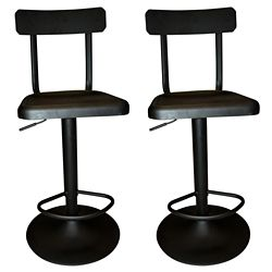 !nspire Haines Metal Black Industrial Backless Armless Bar Stool with Black Metal Seat (Set of 2)