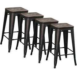 !nspire Modus Metal Black Industrial Backless Armless Bar Stool with Black Metal Seat - (Set of 4)