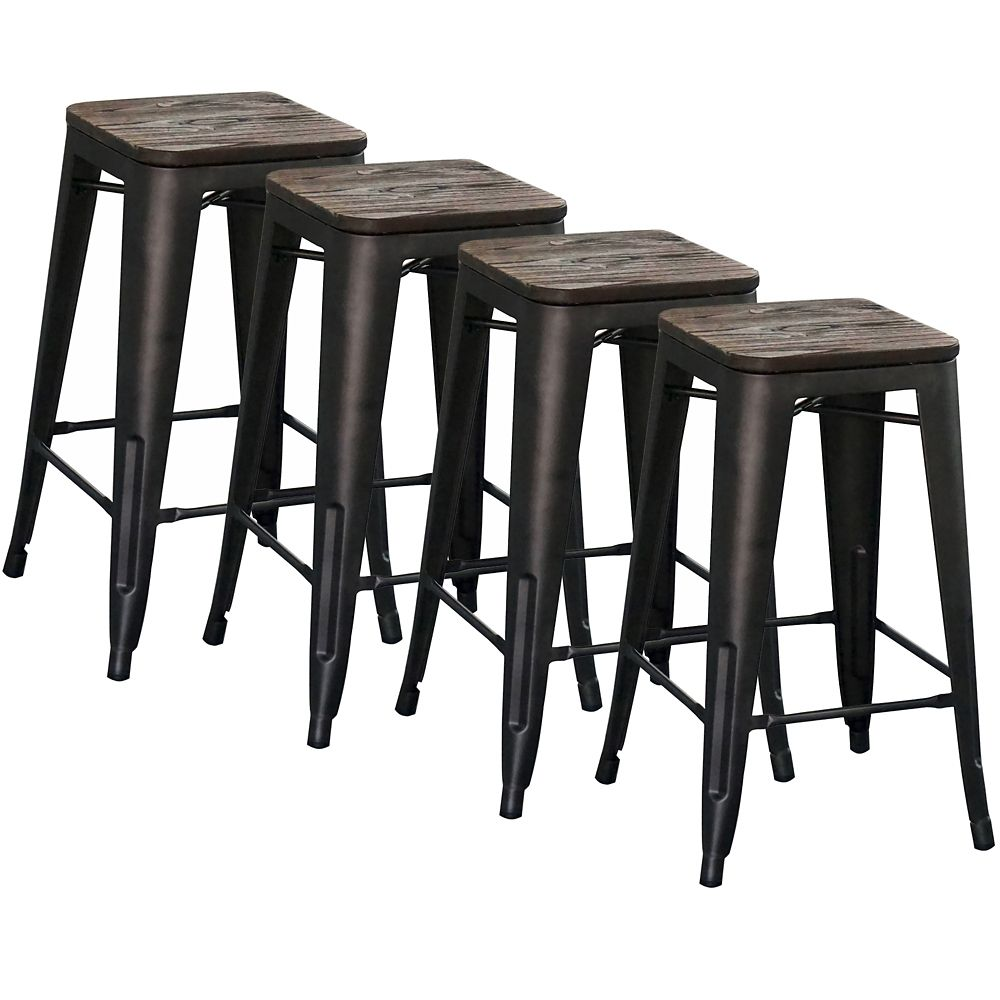 how tall are bar stools. Modus Metal Black Industrial Backless Armless Bar Stool With Seat - Set Of 4 ! How Tall Are Stools L