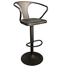 Astra Metal Black Industrial Backless Bar Stool with Black Metal Seat