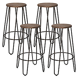 !nspire Revo Metal Black Contemporary Backless Armless Bar Stool with Brown Wood Seat - (Set of 4)