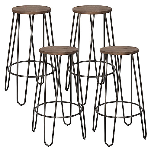 Revo Metal Black Contemporary Backless Armless Bar Stool with Brown Wood Seat - (Set of 4)