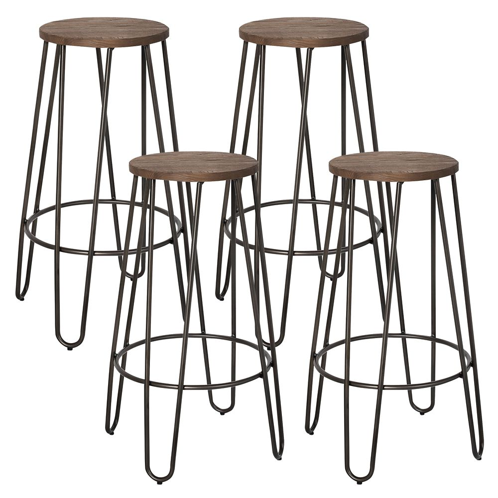Revo Metal Black Contemporary Backless Armless Bar Stool with Brown Wood Seat - Set of 4