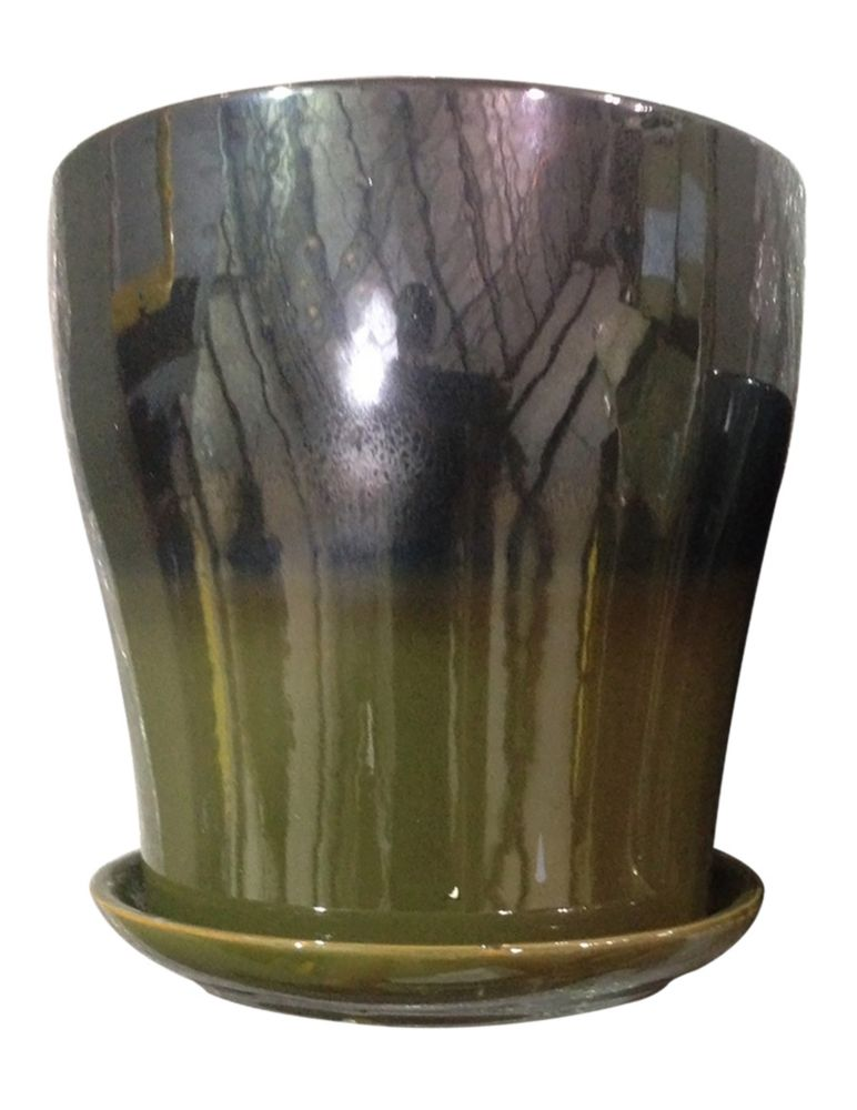 Kurv douces rayures, olive/métal de 20.32 cm