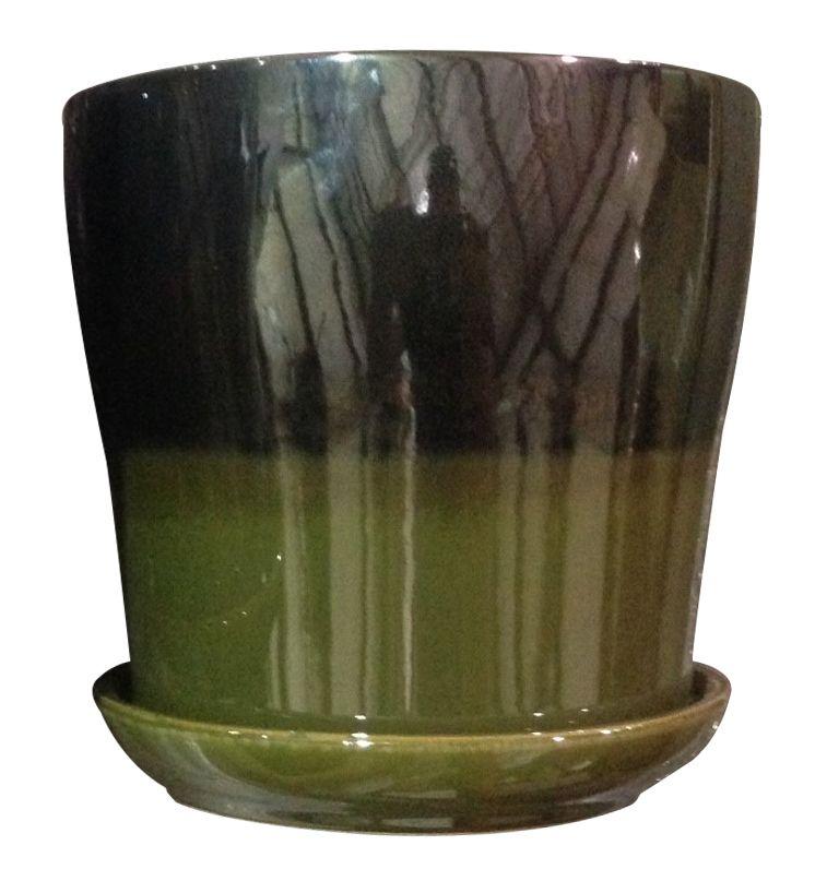 Kurv douces rayures, olive/métal de 15.24 cm
