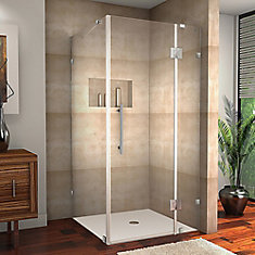 Avalux 32-Inch  x 38-Inch  x 72-Inch  Frameless Shower Stall in Chrome
