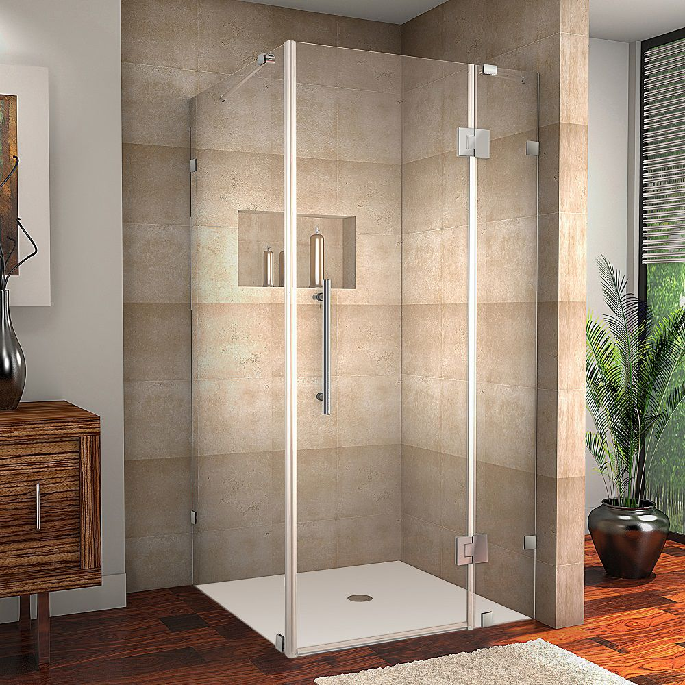 Avalux 39-Inch  x 34-Inch  x 72-Inch  Frameless Shower Stall in Stainless Steel