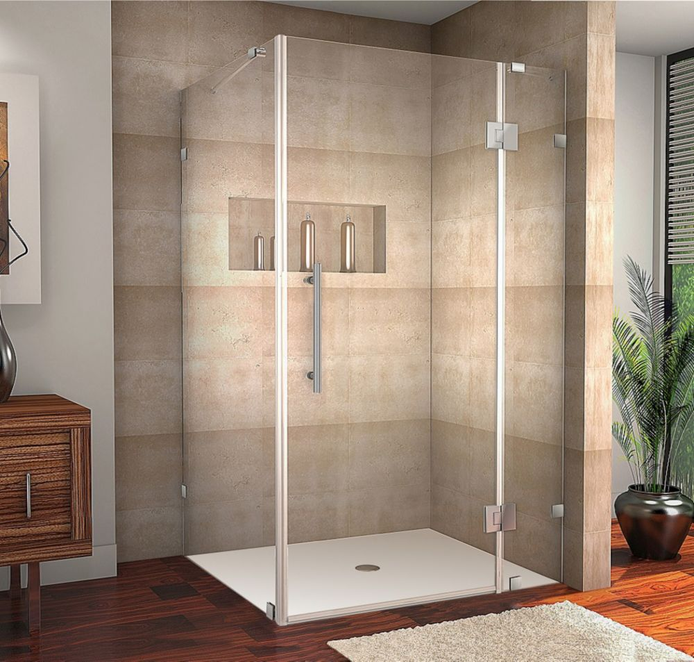 Avalux 48-Inch  x 34-Inch  x 72-Inch  Frameless Shower Stall in Stainless Steel