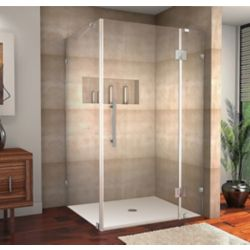 Aston Avalux 48-Inch  x 34-Inch  x 72-Inch  Frameless Shower Stall in Stainless Steel
