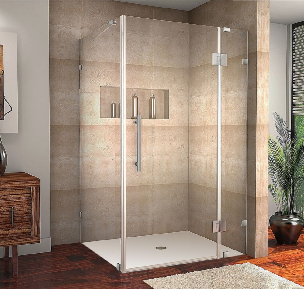 Avalux 42-Inch  x 38-Inch  x 72-Inch  Frameless Shower Stall in Stainless Steel