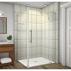 Aston Avalux GS 48-Inch  x 30-Inch  x 72-Inch  Frameless Shower Stall with Glass Shelves in Chrome