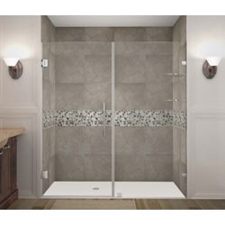 Aston Nautis GS 76 Inch X 72 Inch Completely Frameless Hinged Shower Door With Glass Shelves In Chrome