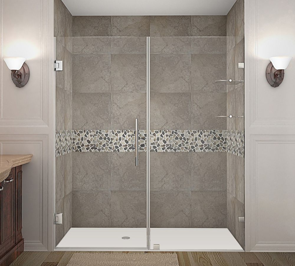 Nautis GS 71 Inch X 72 Inch Completely Frameless Hinged Shower Door With Glass Shelves In Stainle...