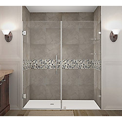 Aston Nautis GS 71 Inch X 72 Inch Completely Frameless Hinged Shower Door With Glass Shelves In Stainless