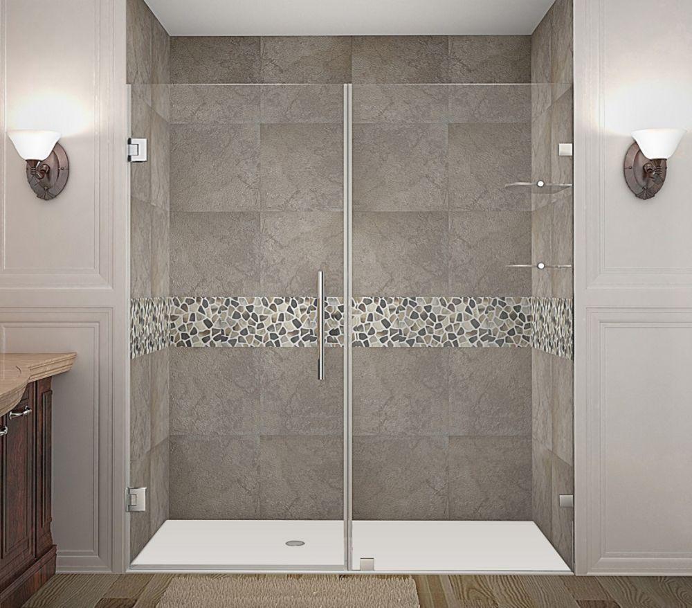 Nautis gs 60 in x 72 in completely frameless hinged for Discount frameless shower doors