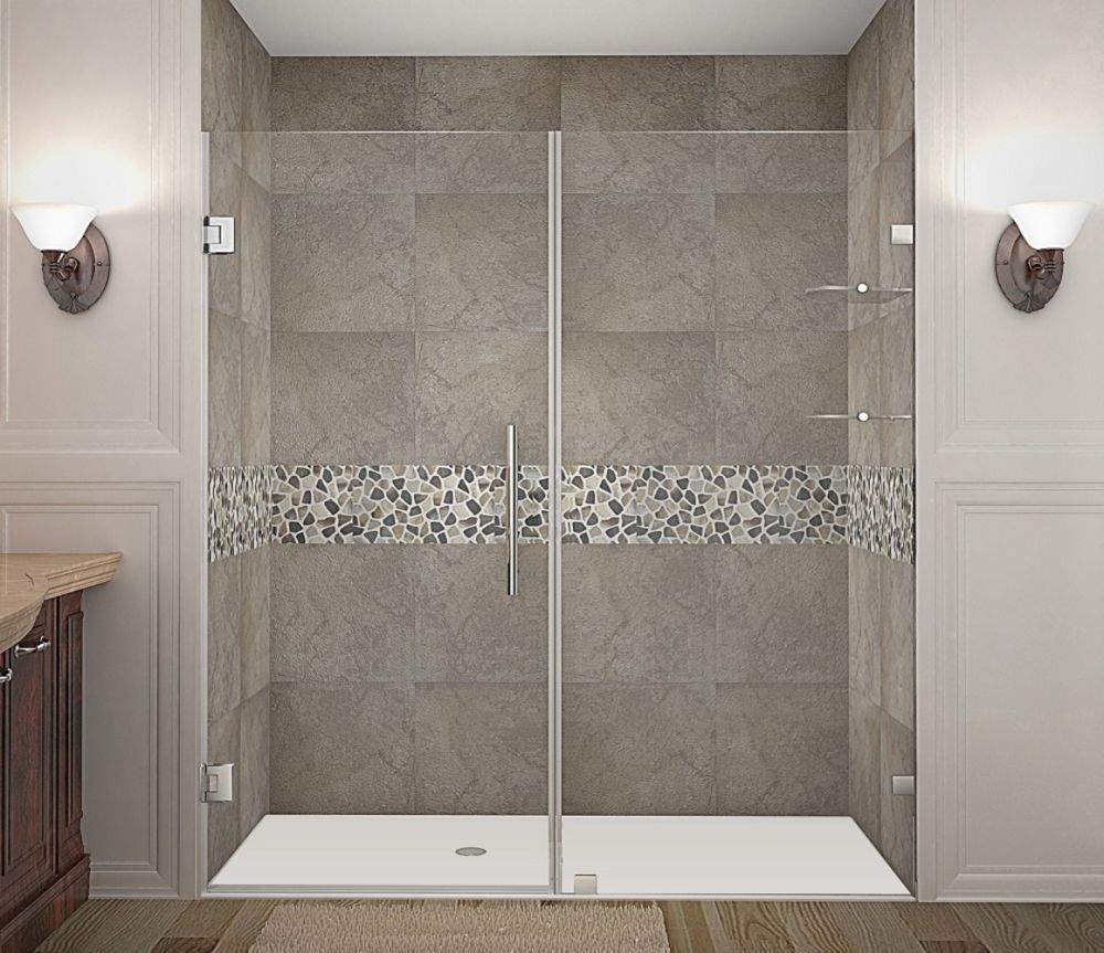 Nautis GS 76 Inch X 72 Inch Completely Frameless Hinged Shower Door With Glass Shelves In Stainle...