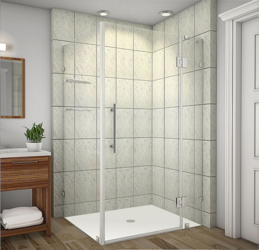 Avalux GS 42-Inch  x 34-Inch  x 72-Inch  Frameless Shower Stall with Glass Shelves in Stainless S...
