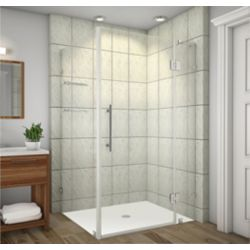 Aston Avalux GS 48-Inch  x 34-Inch  x 72-Inch  Frameless Shower Stall with Glass Shelves in Stainless Steel
