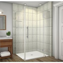 Aston Avalux GS 42-Inch  x 38-Inch  x 72-Inch  Frameless Shower Stall with Glass Shelves in Stainless Steel