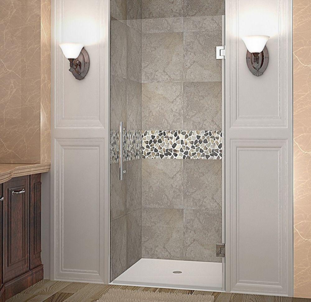 Cascadia 33 Inch X 72 Inch Completely Frameless Hinged Shower Door In Chrome