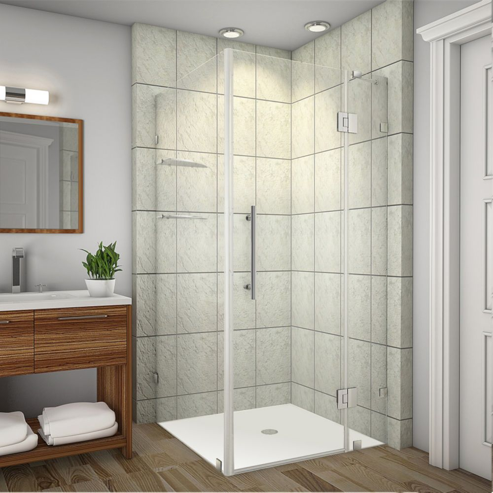 Avalux GS 34-Inch  x 32-Inch  x 72-Inch  Frameless Shower Stall with Glass Shelves in Stainless Steel