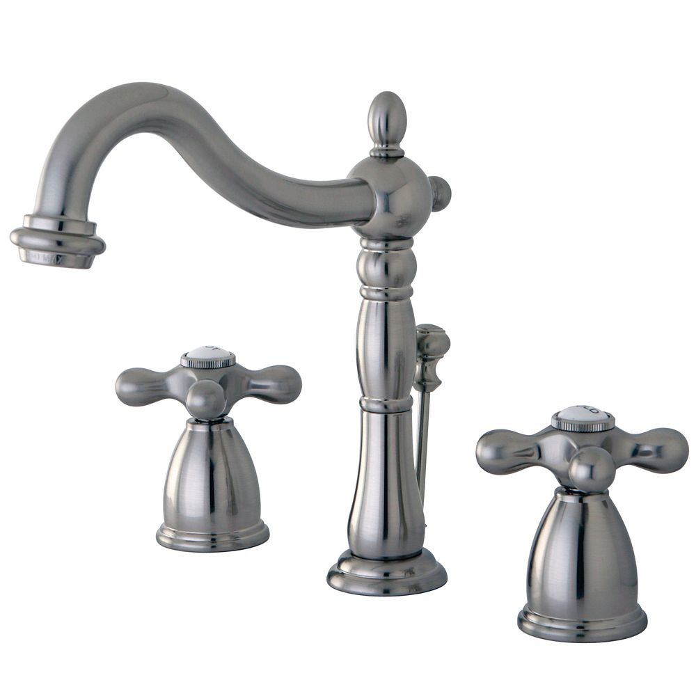 Kingston Brass Victorian Widespread (8-inch) 2-Handle High Arc Bathroom Faucet in Satin Nickel with Cross Handles